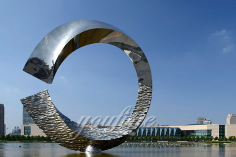 "Mirror Polished 316L polished Stainless steel sculpture""noon at water"""