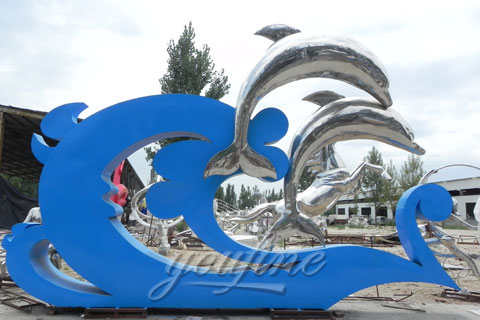 Abstract Modern Outdoor Mirror polished metal dolphin sculpture in 316 stainless for sale
