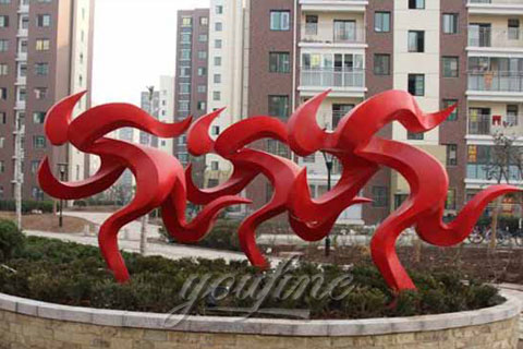 Outdoor modern abstract running walking man stainless steel sculptures in park for Sale