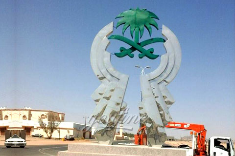 Large outdoor metal sculpture for sale for client from Saudi Arabia