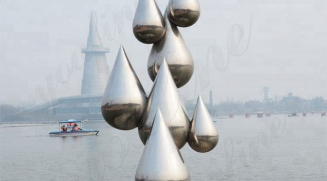water droplets stainless steel sculpture